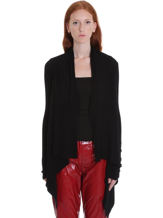 Rick Owens Medium Wrap Cardigan In Black Wool