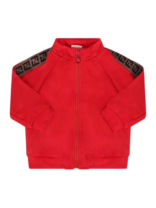 Fendi Red Sweatshirt With Side Ff Stripe