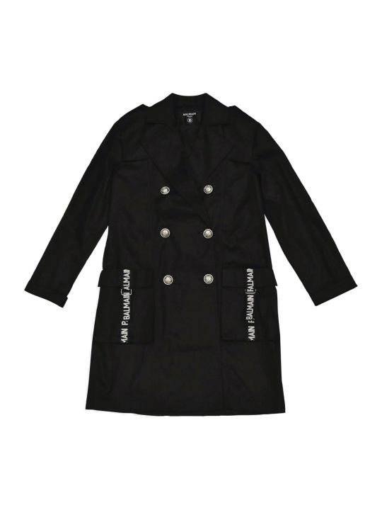 Balmain Black Teen Trench With Buttons And White Details