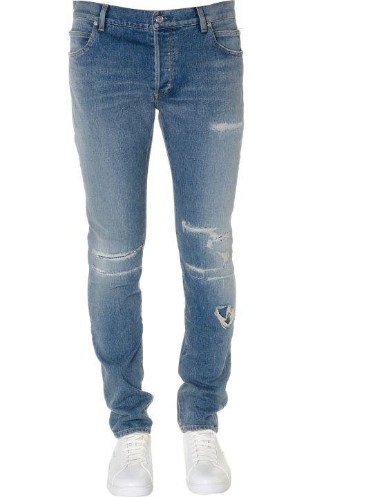 Balmain Destroyed Cotton Denim Jeans