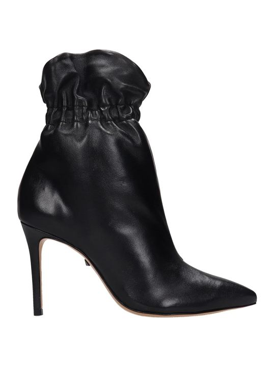 Schutz High Heels Ankle Boots In Black Leather