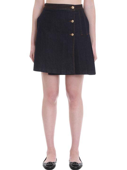 Tory Burch Skirt In Blue Denim