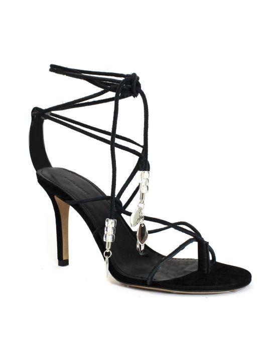 Isabel Marant Black Calfskin Velvet Leather Sandals