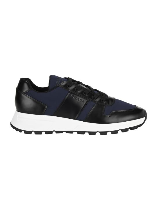 Prada Fabric And Brushed Leather Sneakers