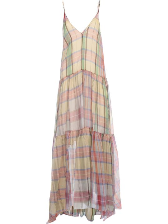 Forte_Forte Tartan Organza Silk Dress With Slip