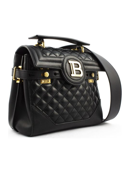 Balmain Black Lambskin Leather B-buzz 23 Bag