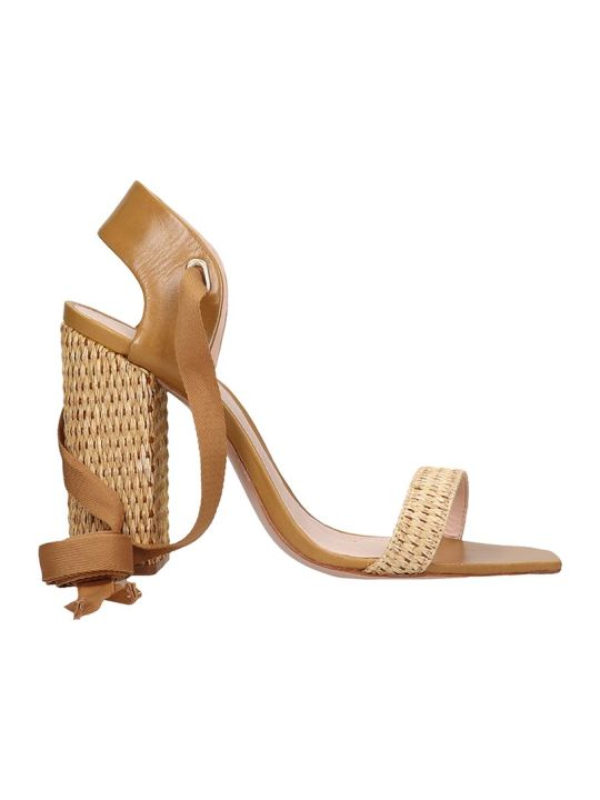 Schutz Sandals In Leather Color Canvas