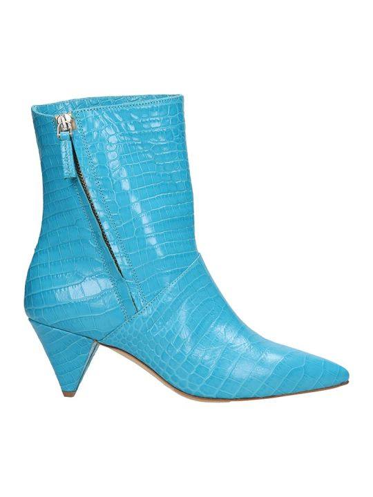 The Seller Light Blue Cocco Print Leather Ankle Boots