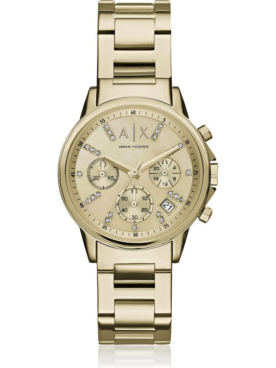 Armani Collezioni Armani Exchange Lady Banks Gold Tone Chronograph Women's Watch