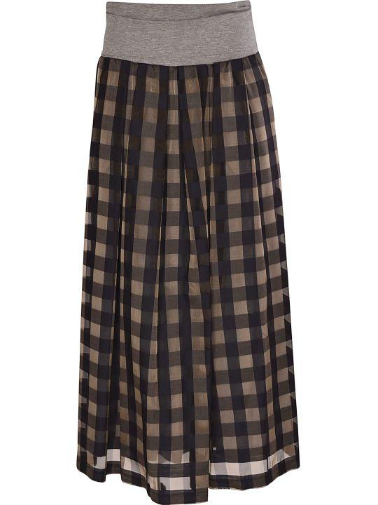Peserico Checked Long Skirt