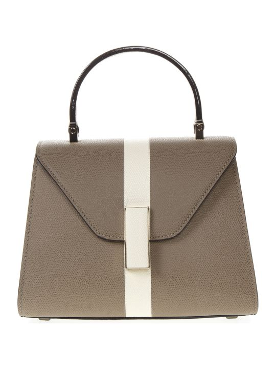 Valextra Beige And White Mini Iside Grained Leather Bag