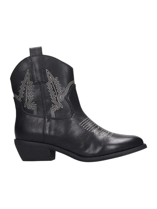 Bibi Lou Texan Ankle Boots In Black Leather