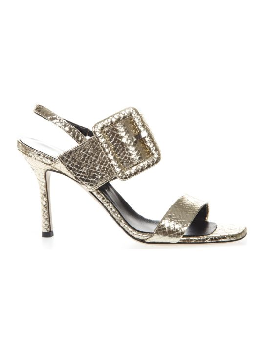 Marc Ellis Platinum Leather Sandals Snake Effect