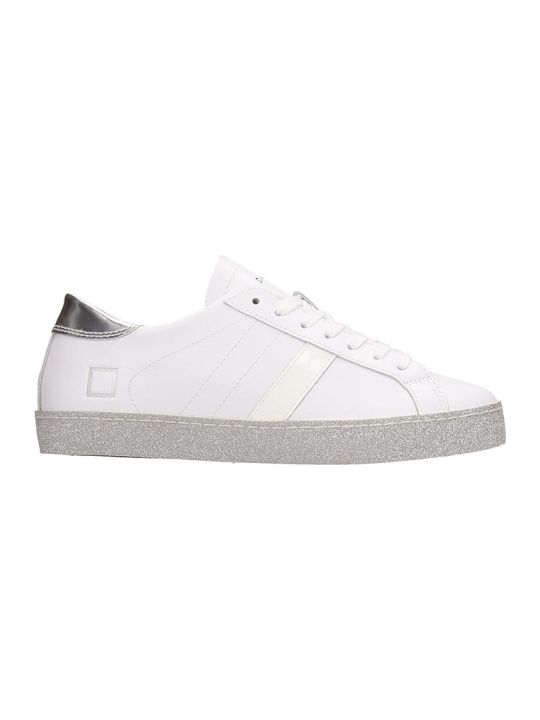 D.A.T.E. Vertigo White Silver Leather Sneakers