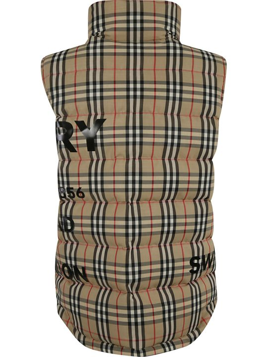Burberry High Neck Padded Checked Vest