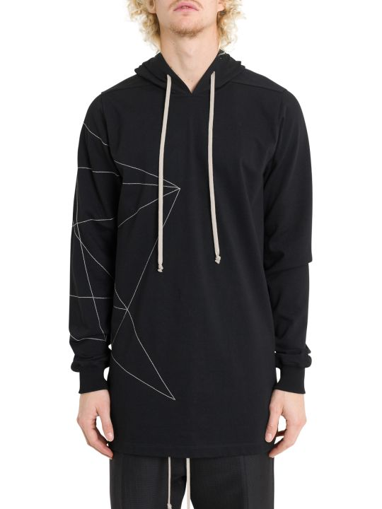 Rick Owens Oversized Hoodie With Embroidery