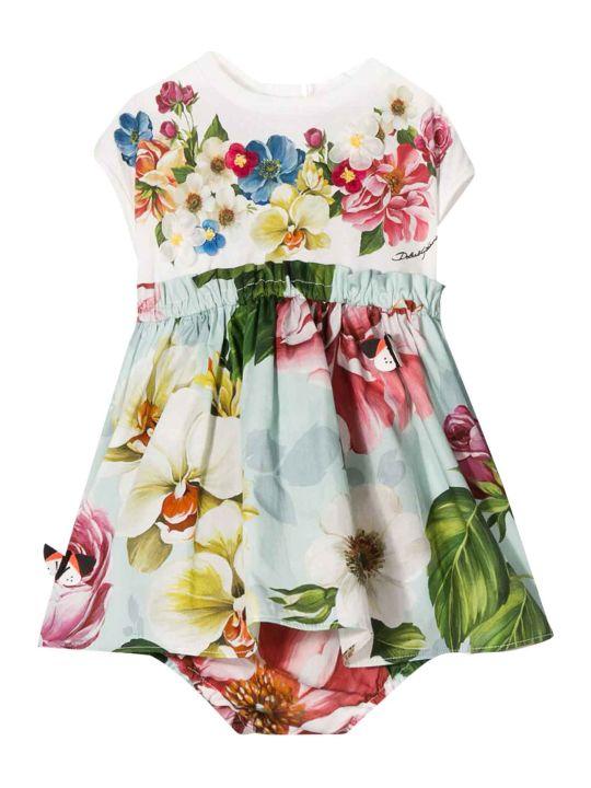 Dolce & Gabbana White Dress With Multicolor Press