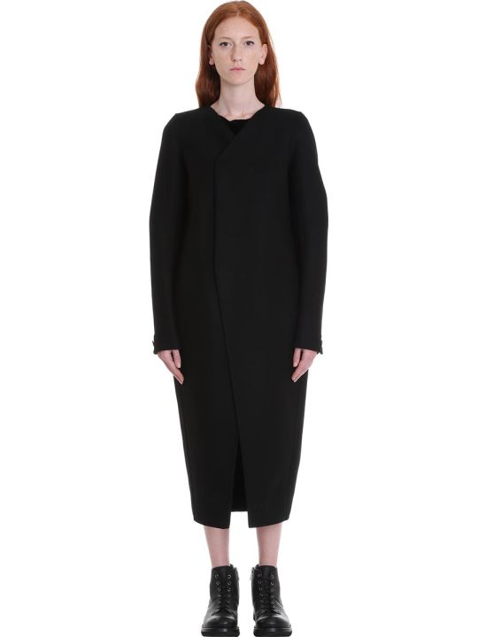 Rick Owens V Neck Tusk Coa Coat In Black Wool