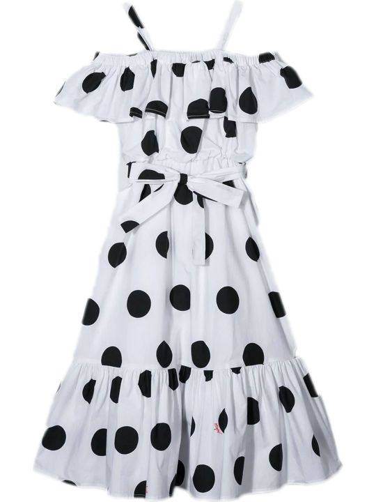 MSGM White And Black Cotton Dress