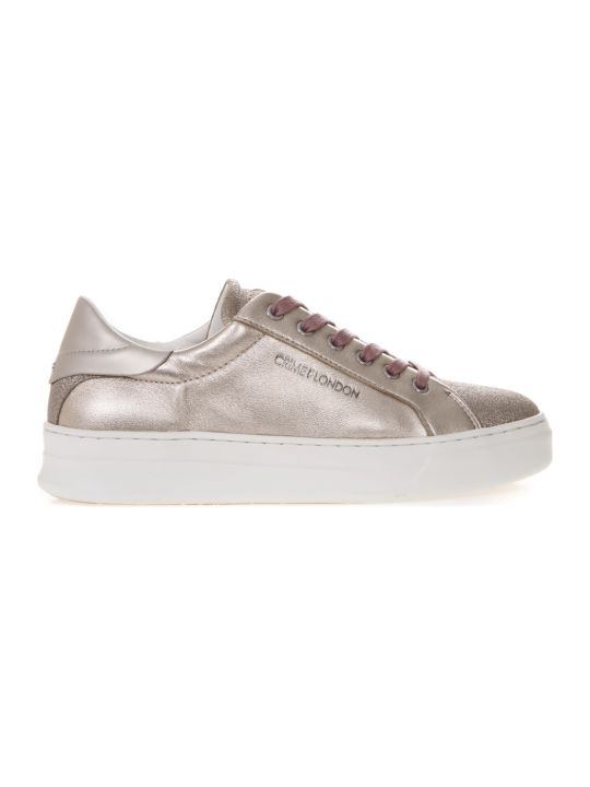 Crime london Platinum Sneakers In Metallic Leather