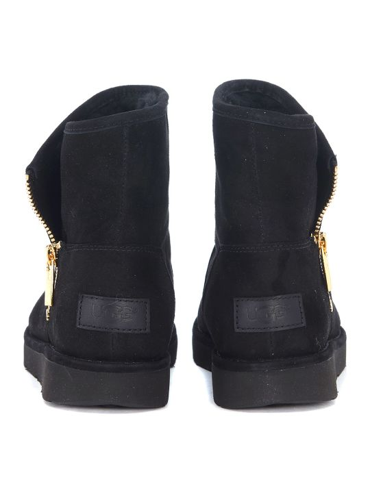924a74a9914 UGG Ugg Mini Kip Ankle Boots In Black Suede Leather With Zip - NERO ...