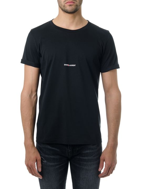 Saint Laurent Black Cotton T-shirt With Logo Print