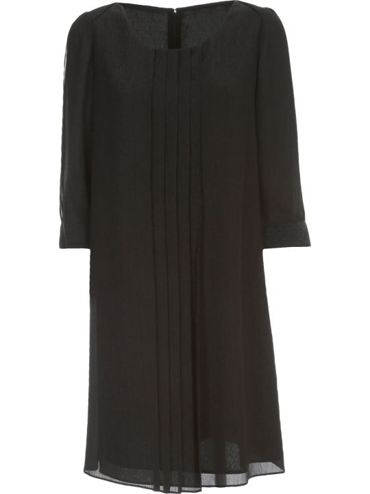 Emporio Armani Pleated Dress 3/4s Crepe Lurex
