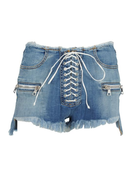 Ben Taverniti Unravel Project Unravel Lace-up Denim Shorts
