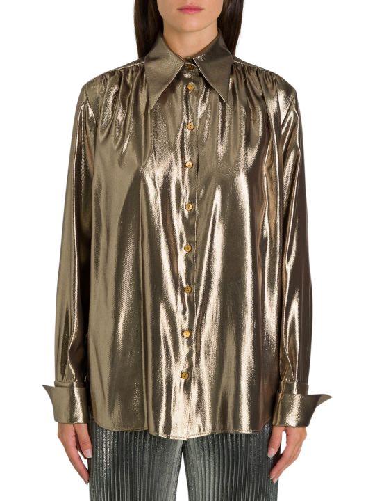 Alberta Ferretti Golden Lamé Shirt