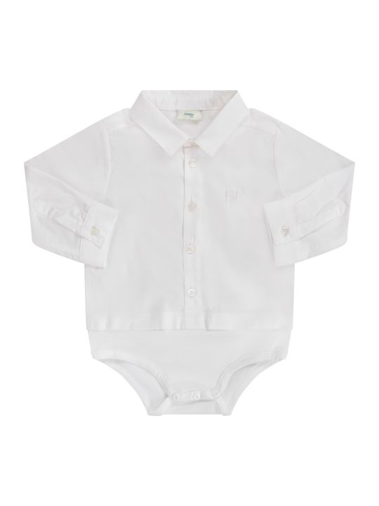Fendi White Babyboy Body Shirt With Double Ff