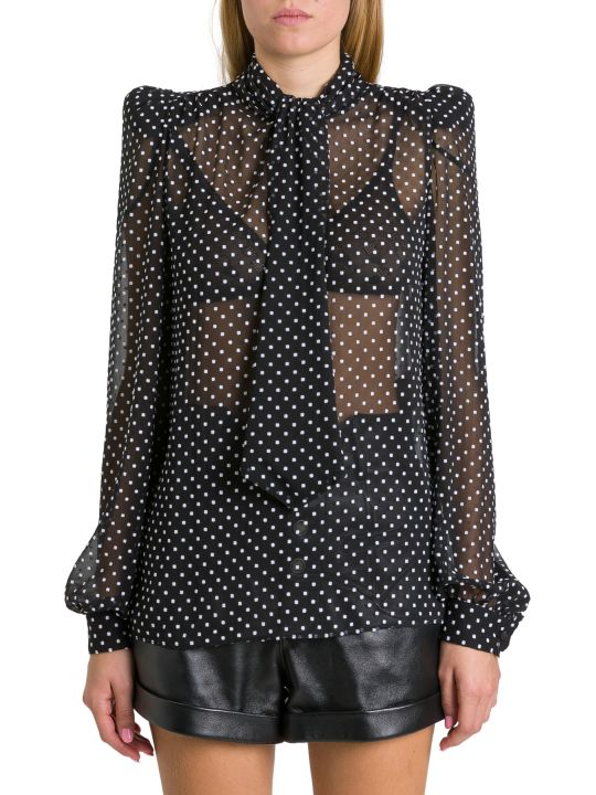 Saint Laurent Necktie Blouse In Dotted Square Muslin