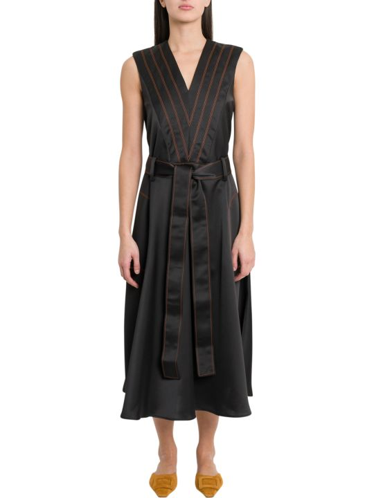 Cedric Charlier Belted Dress With Contrasting Stitching