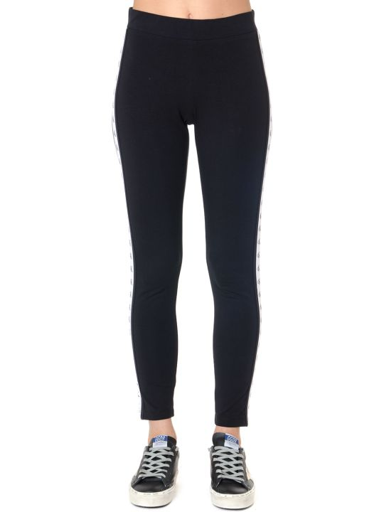 Calvin Klein Jeans Black Stretch Cotton Logo Stripe Leggins