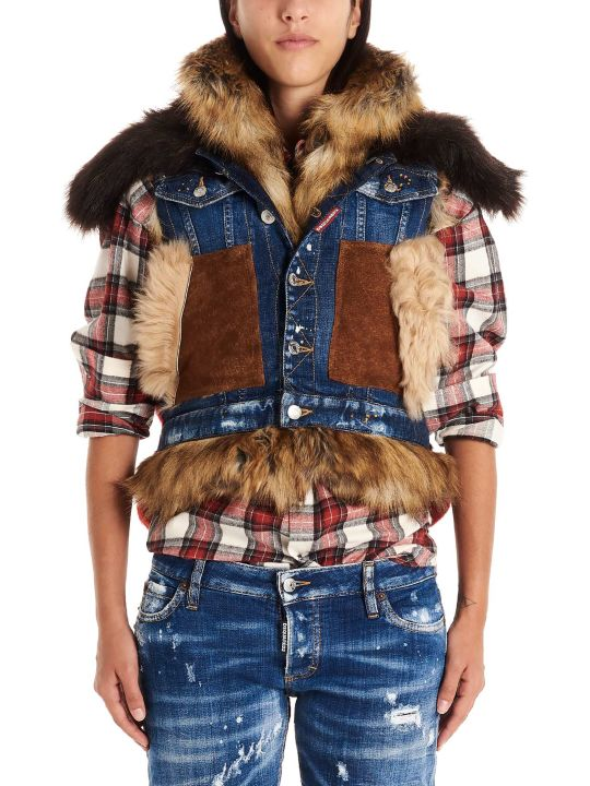Dsquared2 'canadian Mixed Fabrics Bomber' Vest