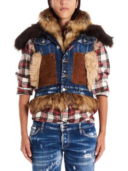 Dsquared2 'canadian Mixed Fabrics Bomber' Vest
