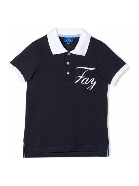 Fay Blue And White Cotton Polo Shirt