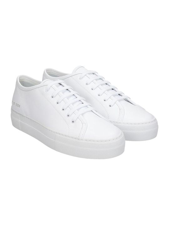 Common Projects Tournament Low Sneakers In White Leather