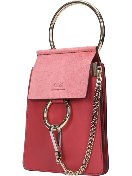 Chloé Faye Mini  Shoulder Bag In Red Suede And Leather