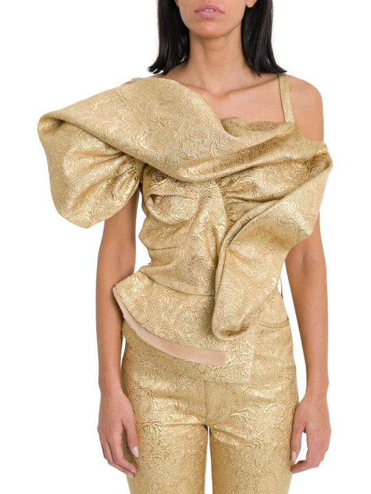 Maison Margiela Ruffled Top In Gold Jacquard
