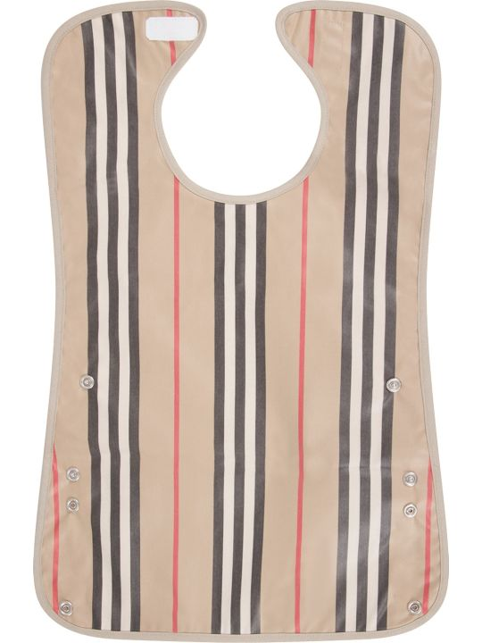 Burberry Beige Babykids Bib With Icon Stripes