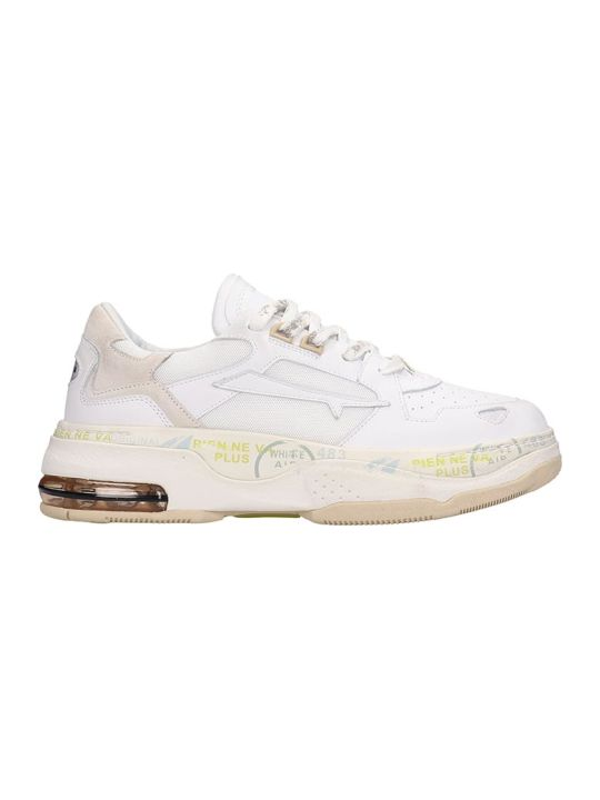 Premiata Drake-d Sneakers In White Leather And Fabric