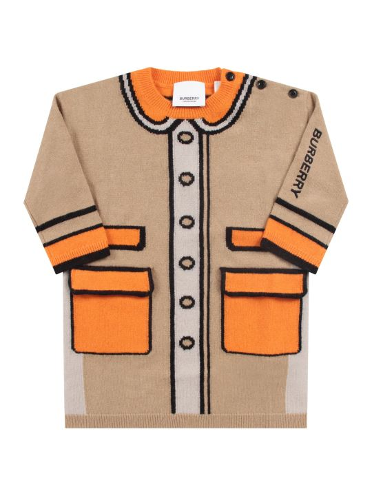 Burberry Beige Babygirl Dress With Black Logo And Intarsia
