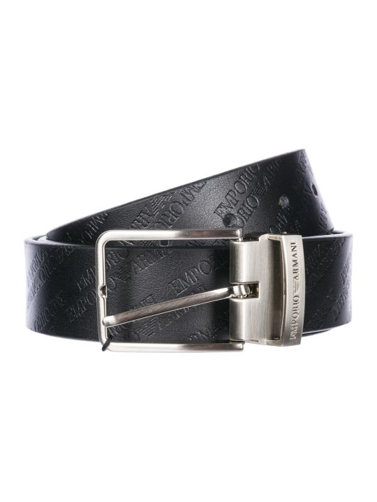 Emporio Armani  Adjustable Length Genuine Leather Belt