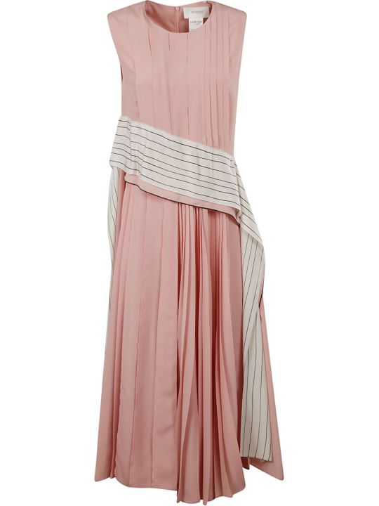 SportMax Striped Panel Pleated Dress