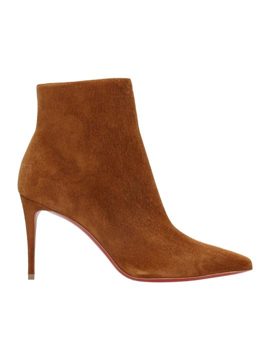 Christian Louboutin So Kate Booty85 High Heels Ankle Boots In Leather Color Suede