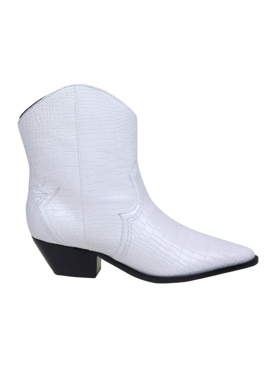 Schutz Ankle Boot In White Leather