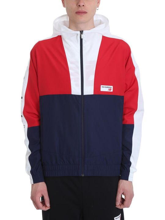 New Balance Blue Red And White Technical Fabric Jacket