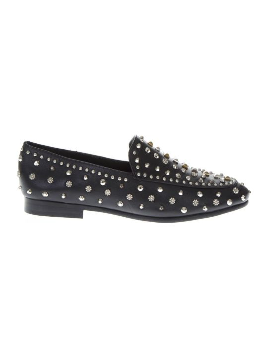 Lola Cruz Black Leather Studs Loafer