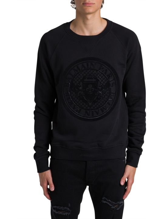 Balmain Crewneck Sweatshirt With Coin Logo Print