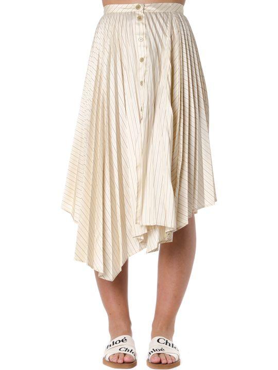 Acne Studios Stiped Motif Asymmetrical Pleated Skirt